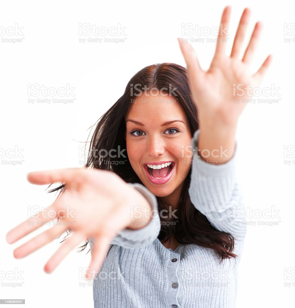 Close-up of a young woman having fun royalty-free stock photo