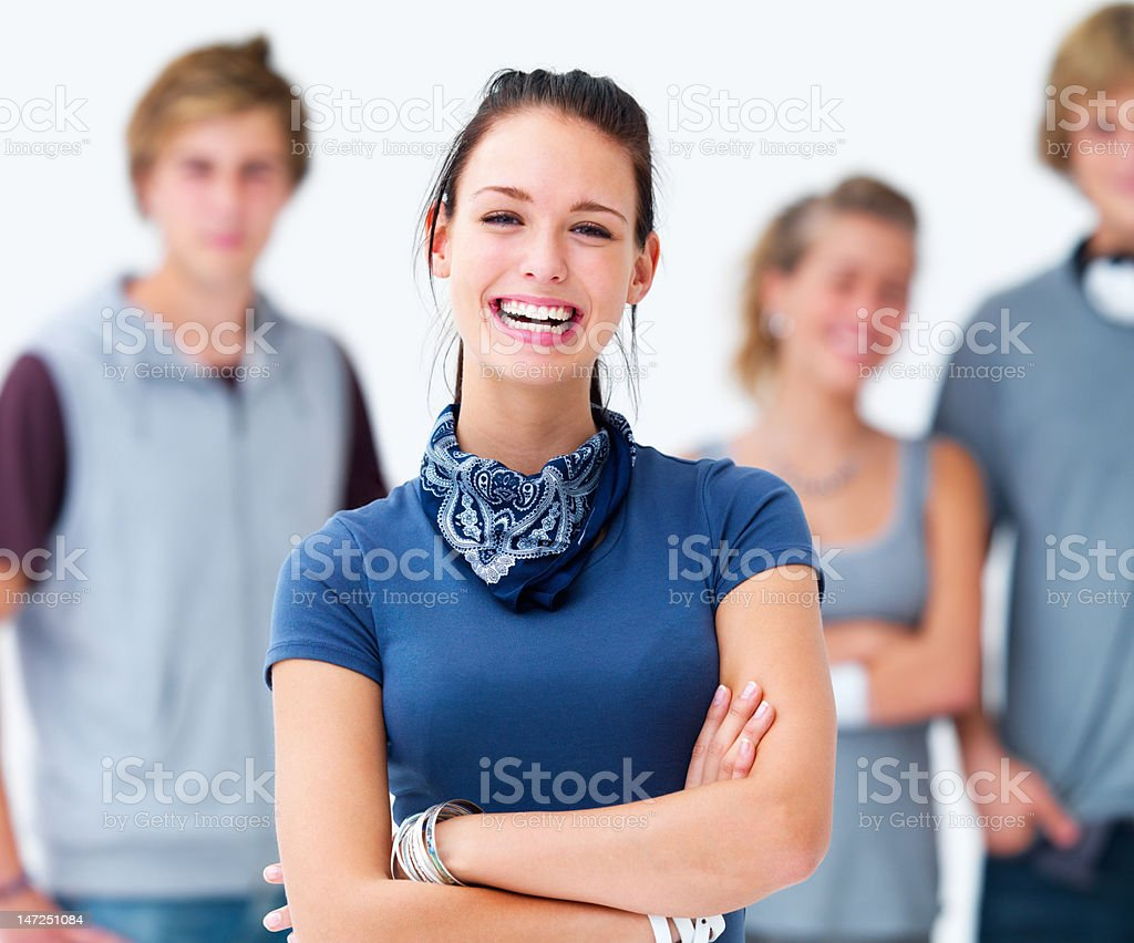 Close-up of a young woman laughing royalty-free stock photo