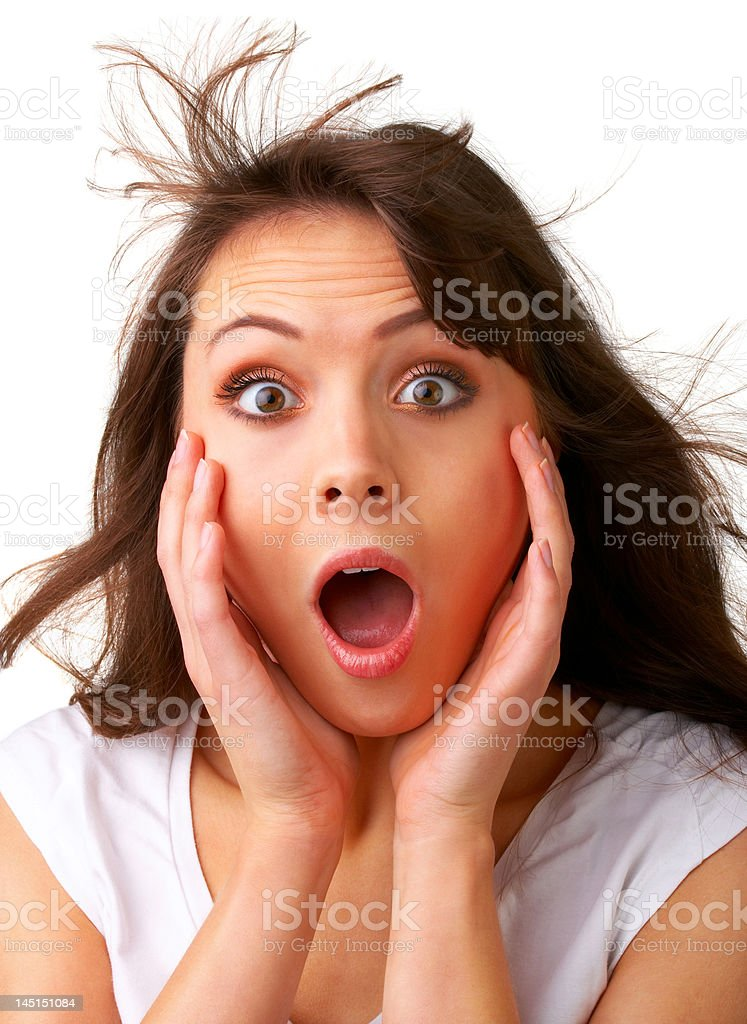 Close-up of a young woman looking shocked royalty-free stock photo