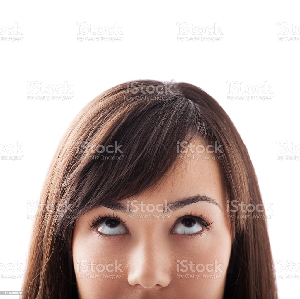 Close-up of a young woman looking up royalty-free stock photo