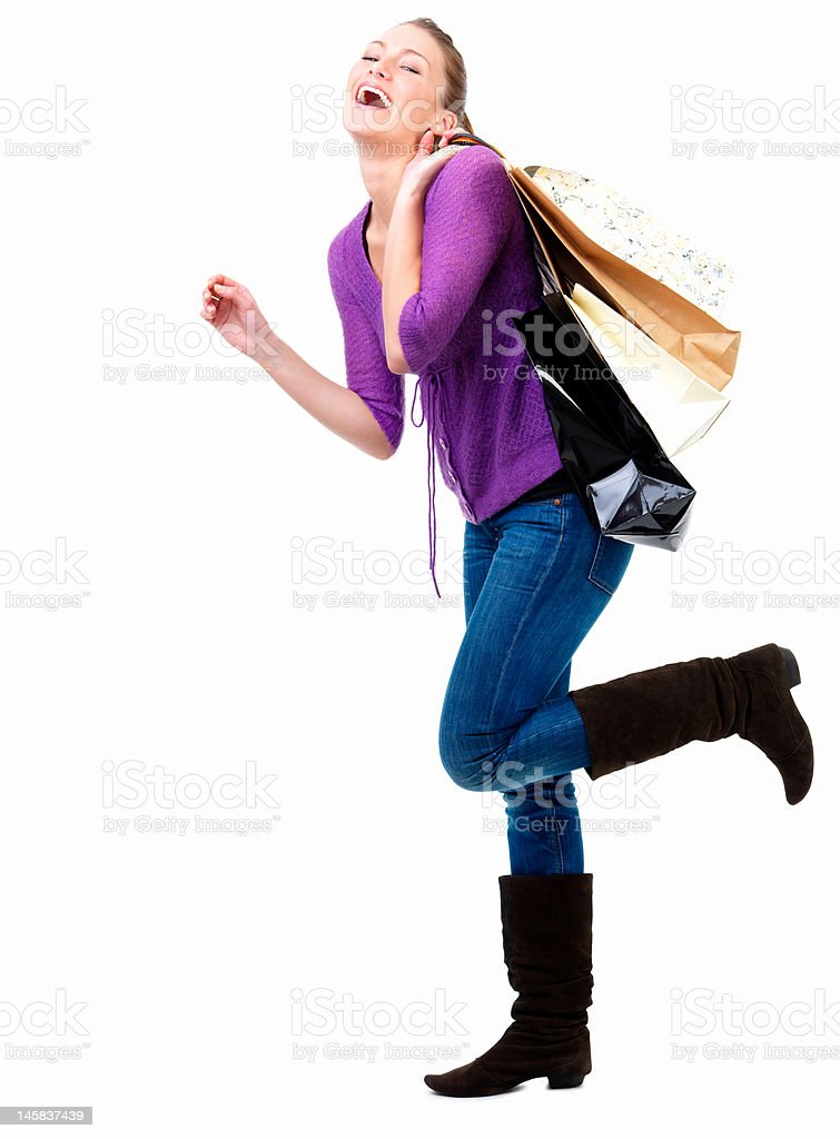 Close-up of a young woman shopping royalty-free stock photo