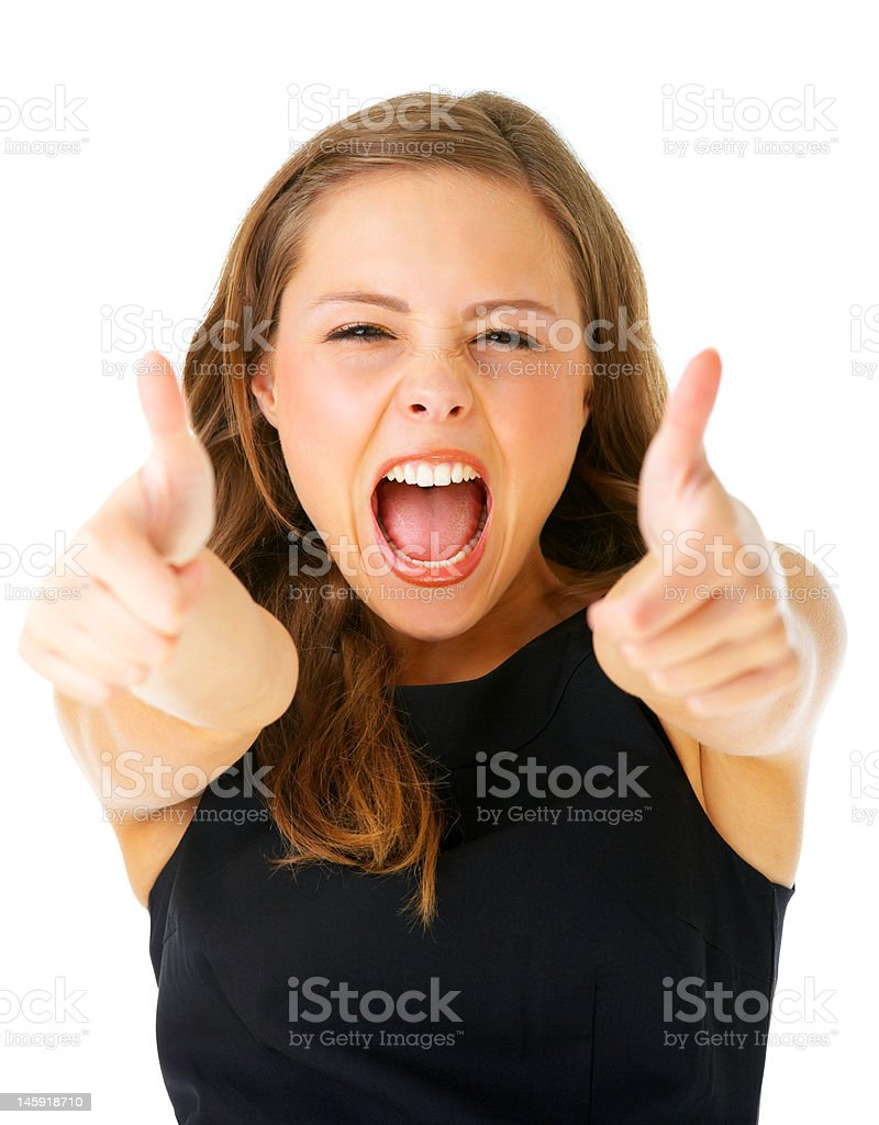 Close-up of a young woman shouting and showing thumbs royalty-free stock photo