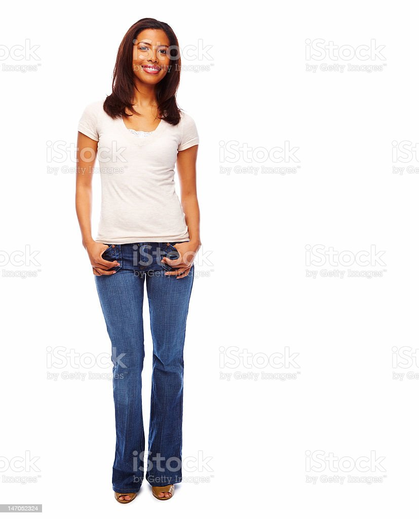 Close-up of a young woman smiling against white background royalty-free stock photo