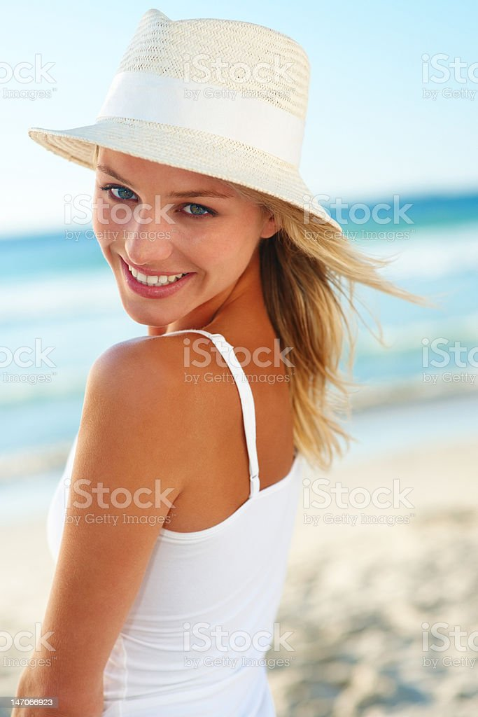 Close-up of a young woman smiling royalty-free stock photo