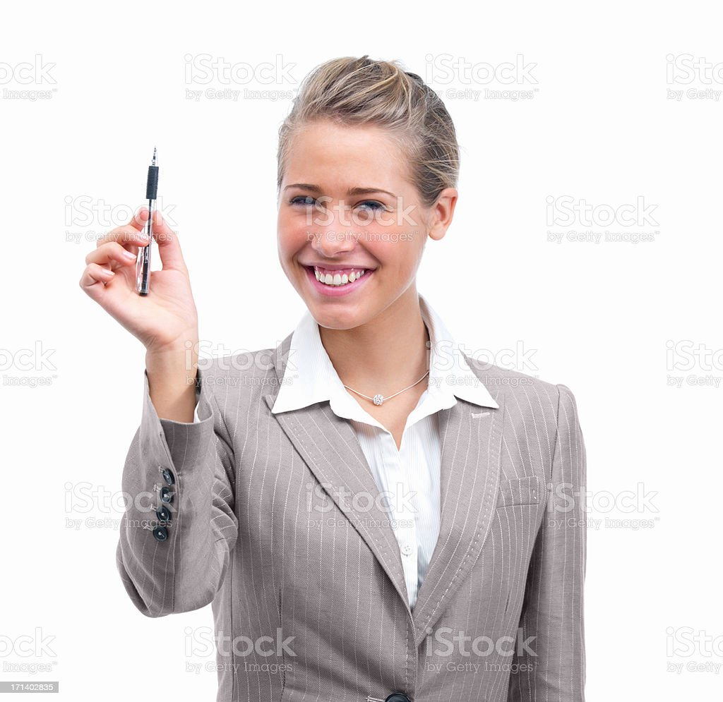 Closeup of a young woman with pen isolated on white background stock photo