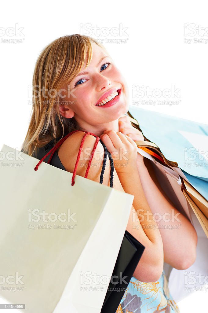 Close-up of a young woman with shopping bags royalty-free stock photo