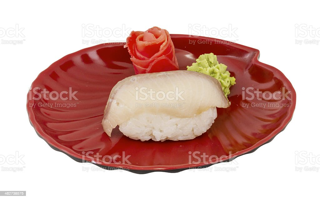 closeup of a young yellow-tail sushi stock photo