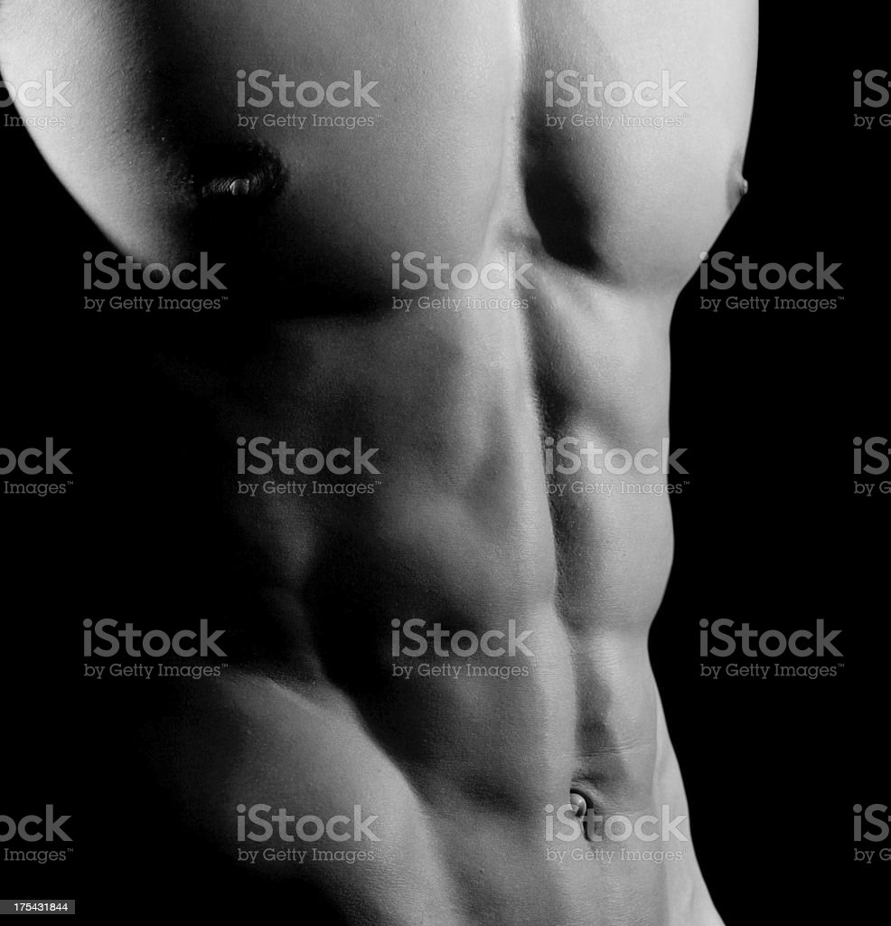 Closeup of AB muscles, Male Athlete royalty-free stock photo
