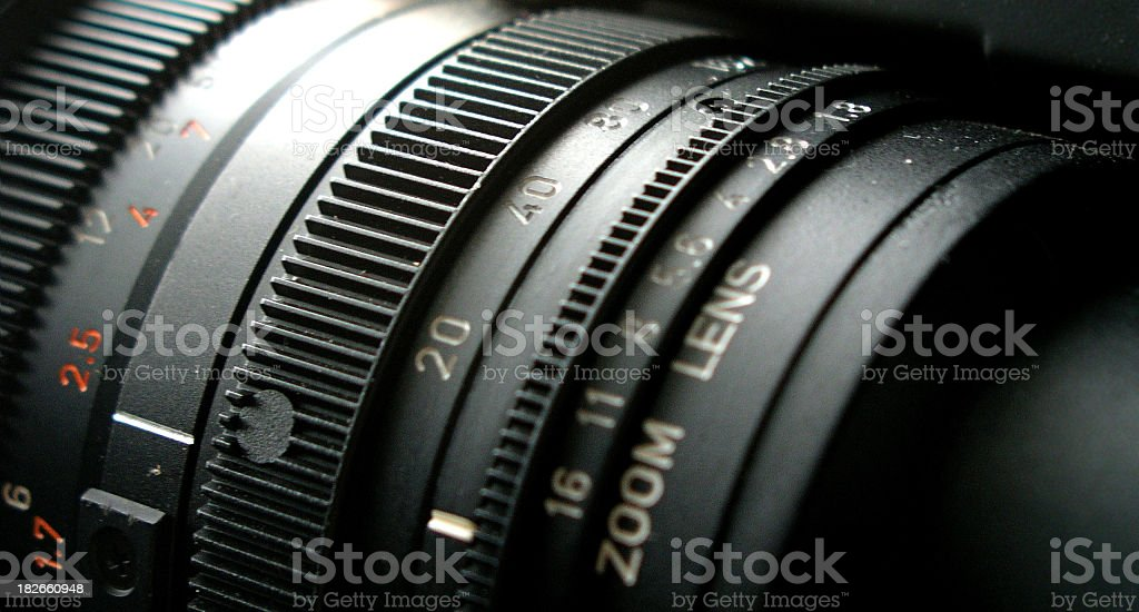 Close-up of adjustable camera lens stock photo