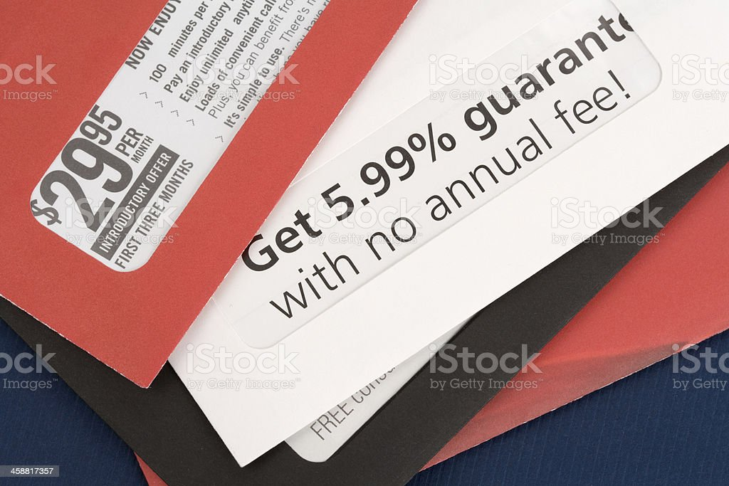 Close-up of advertising mail in red envelope stock photo