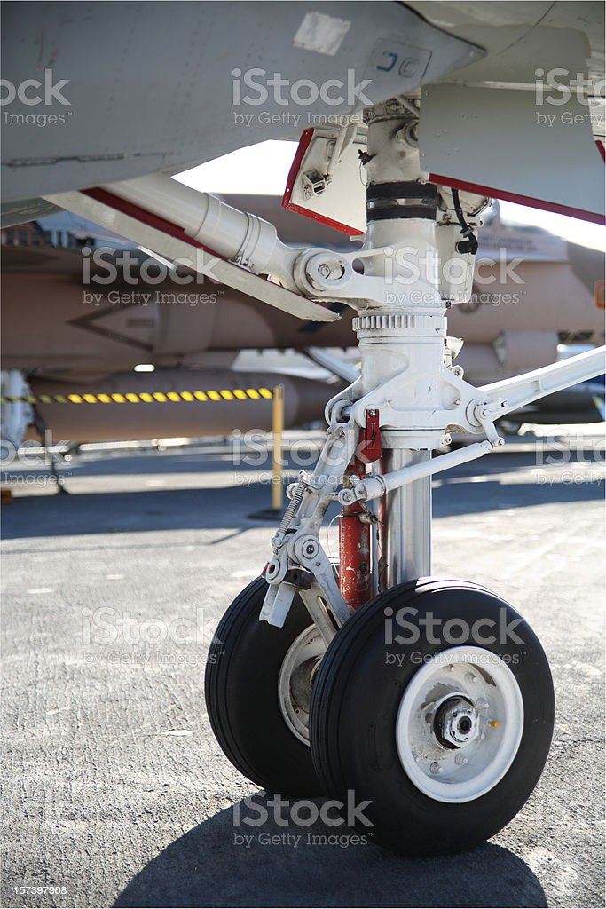 Closeup of aircraft landing gear stock photo