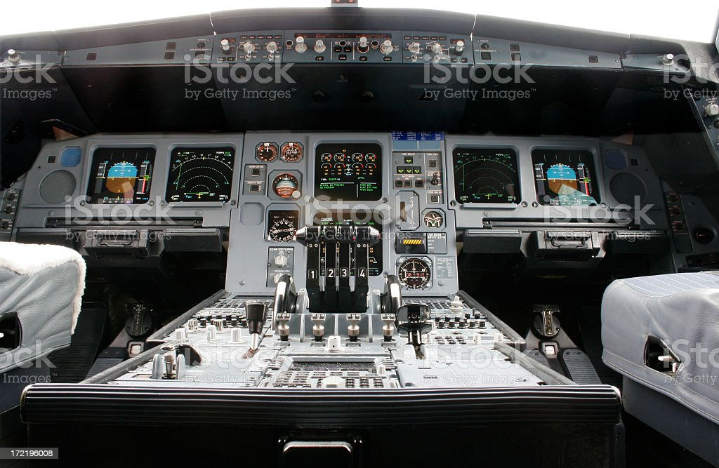 Close-up of airline flight deck and controls stock photo