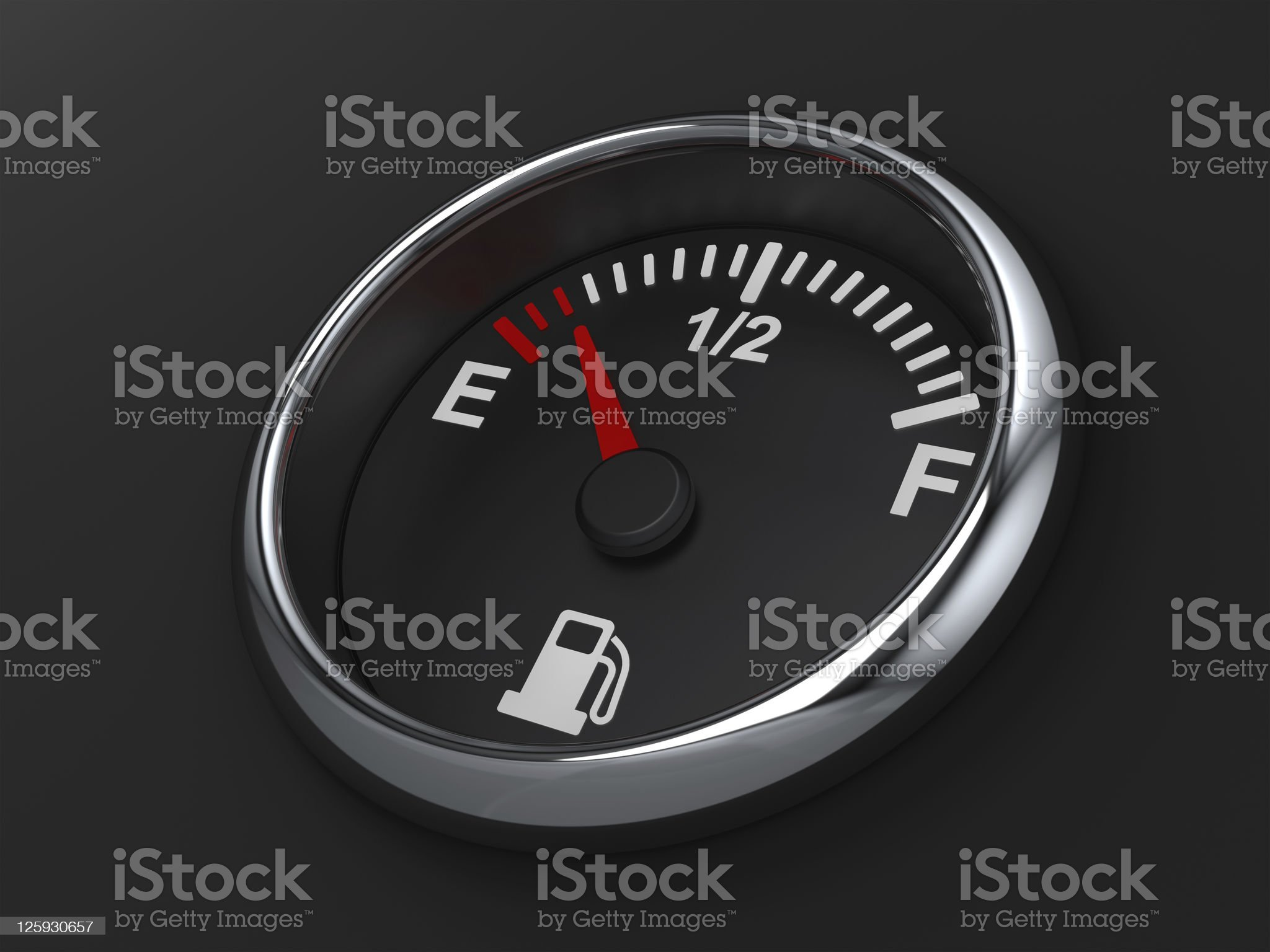 Close-up of almost empty fuel gauge royalty-free stock photo