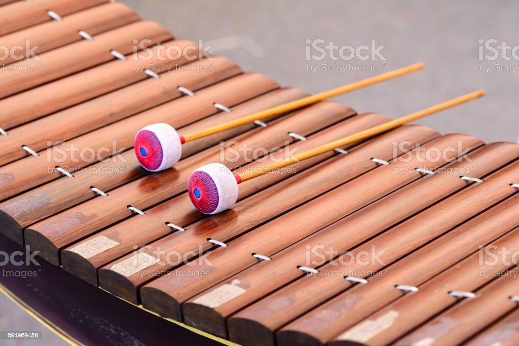Closeup of alto xylophone, Thai instrument. stock photo
