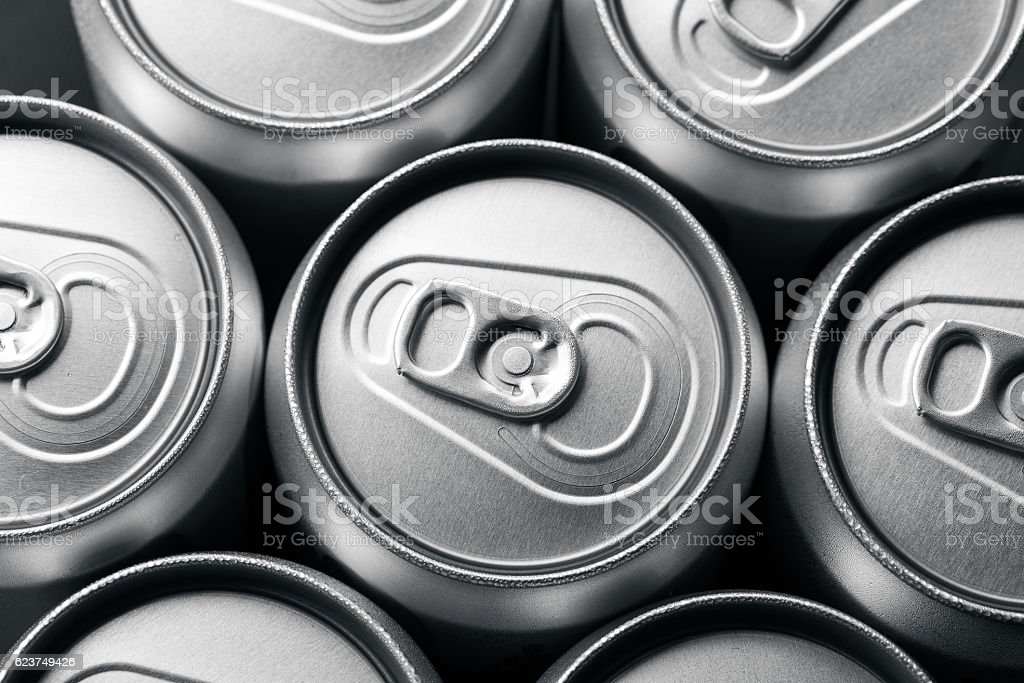 Close-up of aluminum drink cans stock photo