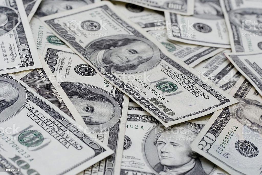 closeup of american money stock photo