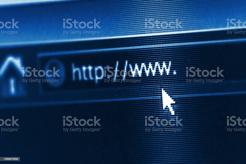 A close-up of an address bar on a computer stock photo