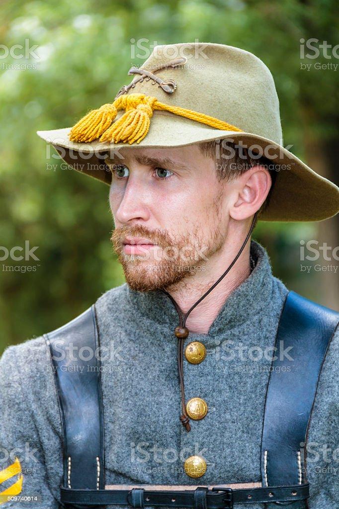 Closeup of an American Civil War Confederate Cavalryman stock photo