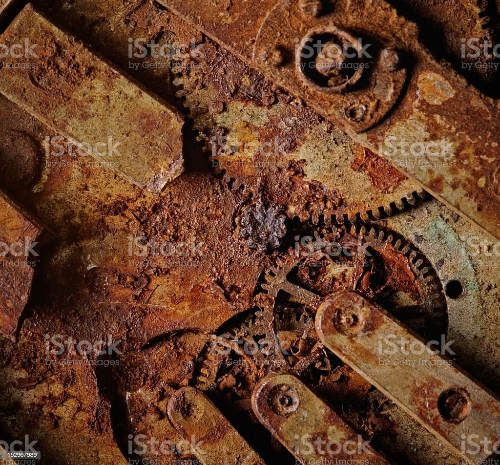 Close-up of an ancient gears mechanism royalty-free stock photo