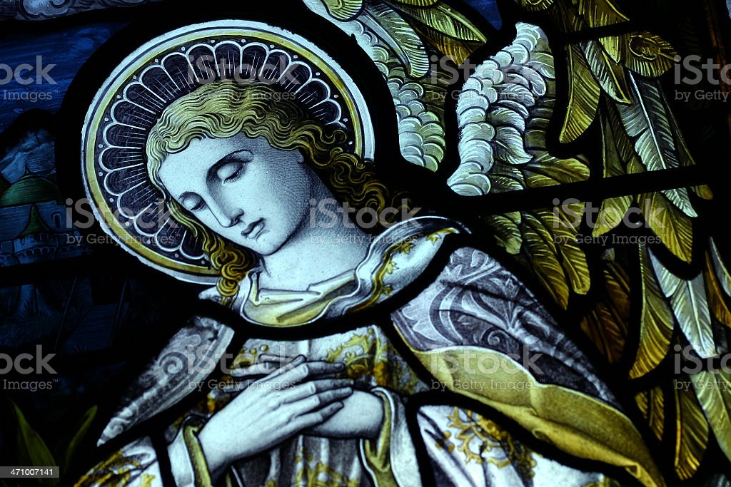 Close-up of an angel on a renaissance-style painting royalty-free stock photo