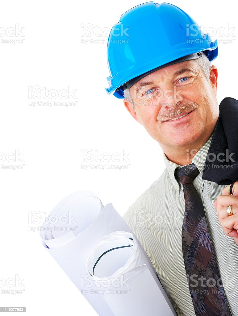 Close-up of an architect holding blueprints royalty-free stock photo