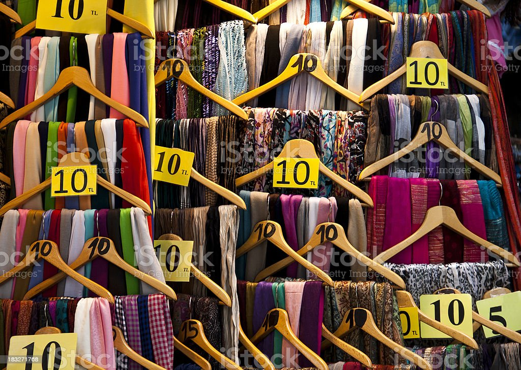 Close-up of an assortment of scarves in a store royalty-free stock photo