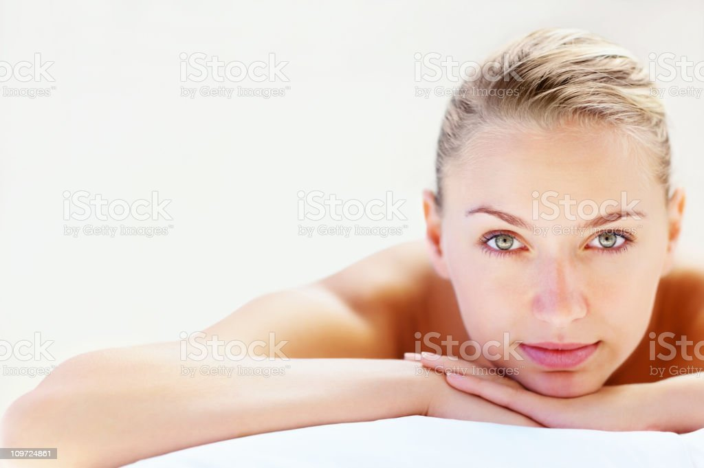 Close-up of an attractive female ready for spa treatment royalty-free stock photo