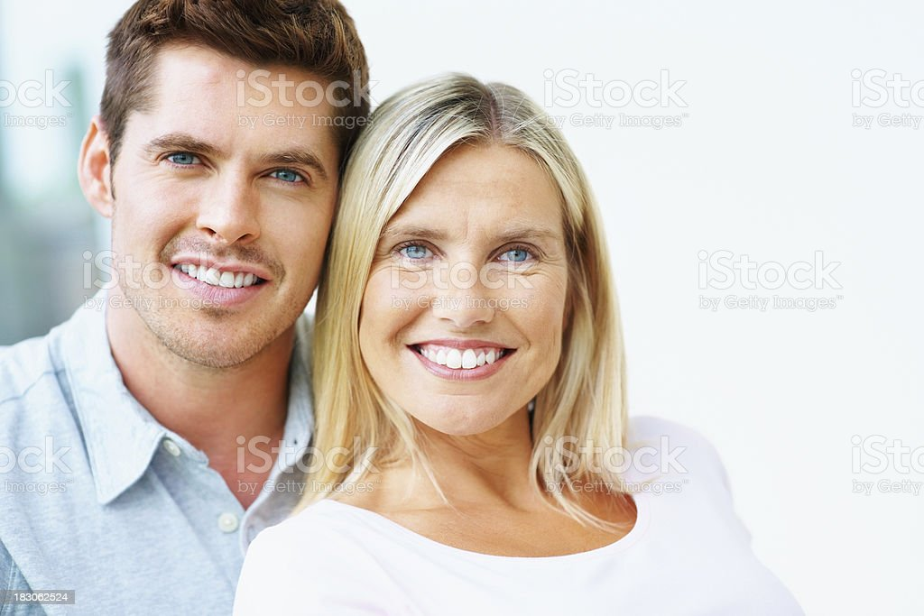 Closeup of an attractive middle aged couple smiling royalty-free stock photo