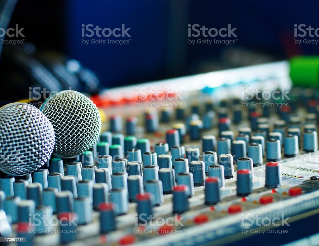 Close-up of an audio mailing board and microphones stock photo