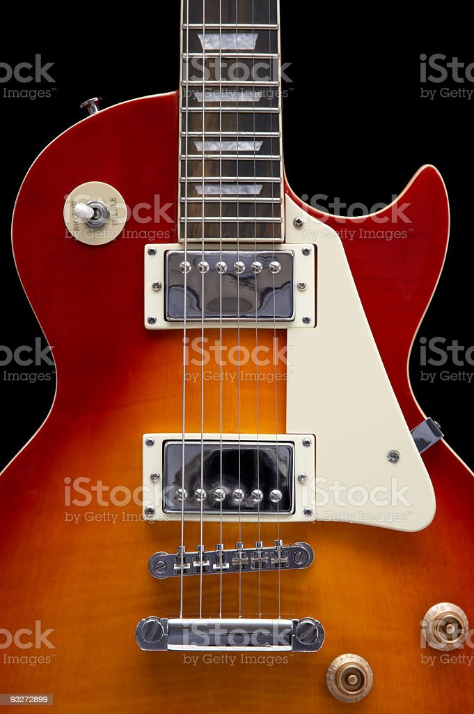 Close-up of an electric guitar on a white background stock photo