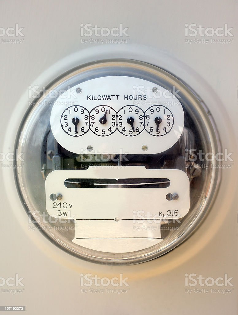 A closeup of an electric meter stock photo