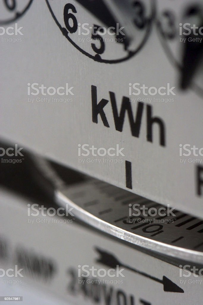 A close-up of an electric meter stock photo