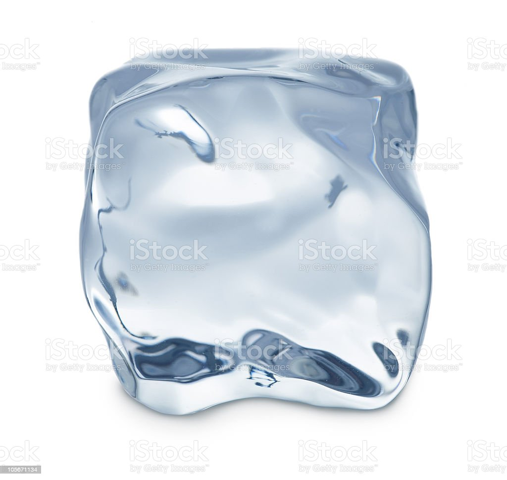 A close-up of an ice cube on a white background royalty-free stock photo