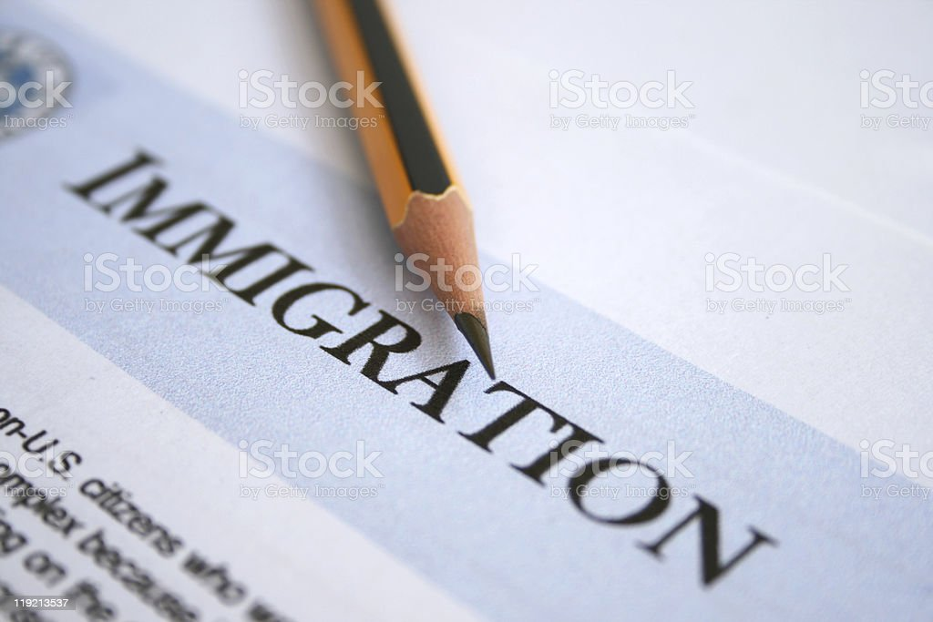 Close-up of an immigration form and #2 sharp pencil stock photo