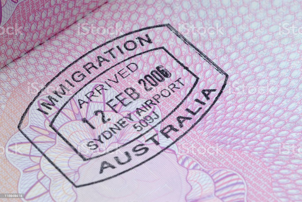 Close-up of an immigration stamp from Australia Feb 12, 2006 royalty-free stock photo