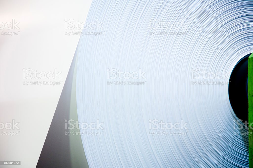 Close-up of an industrial sized roll of paper royalty-free stock photo