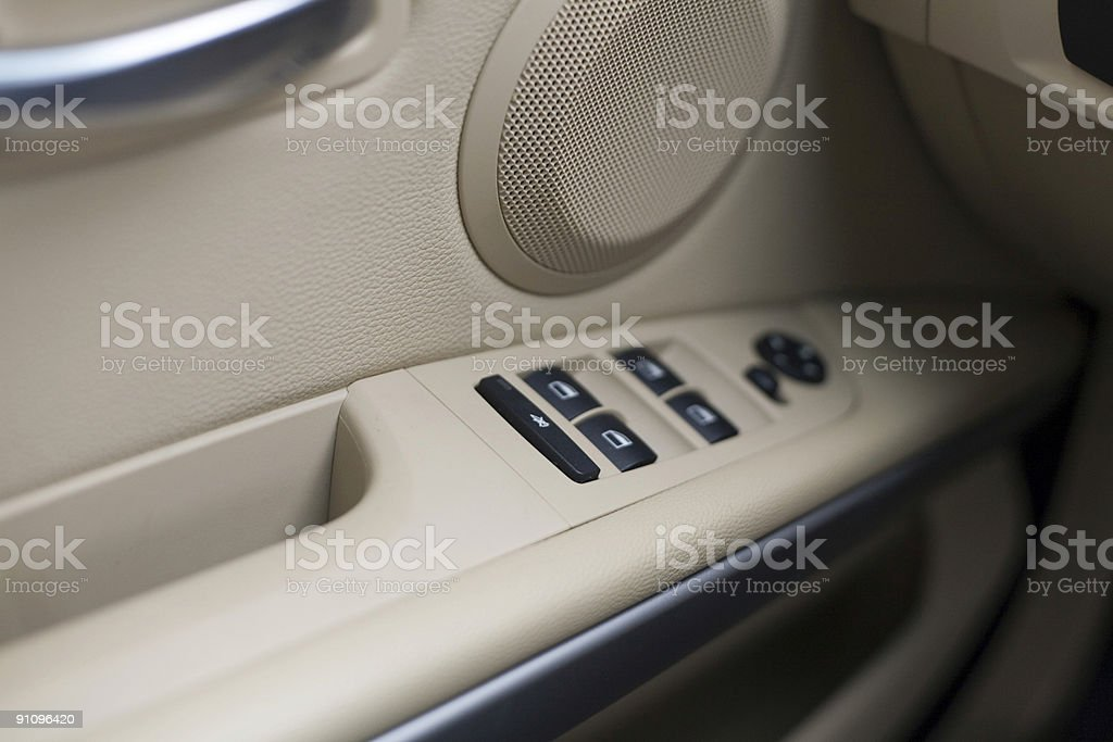 Close-up of an interior car door stock photo