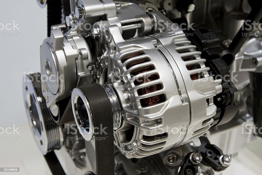 Closeup of an internal combustion engine stock photo