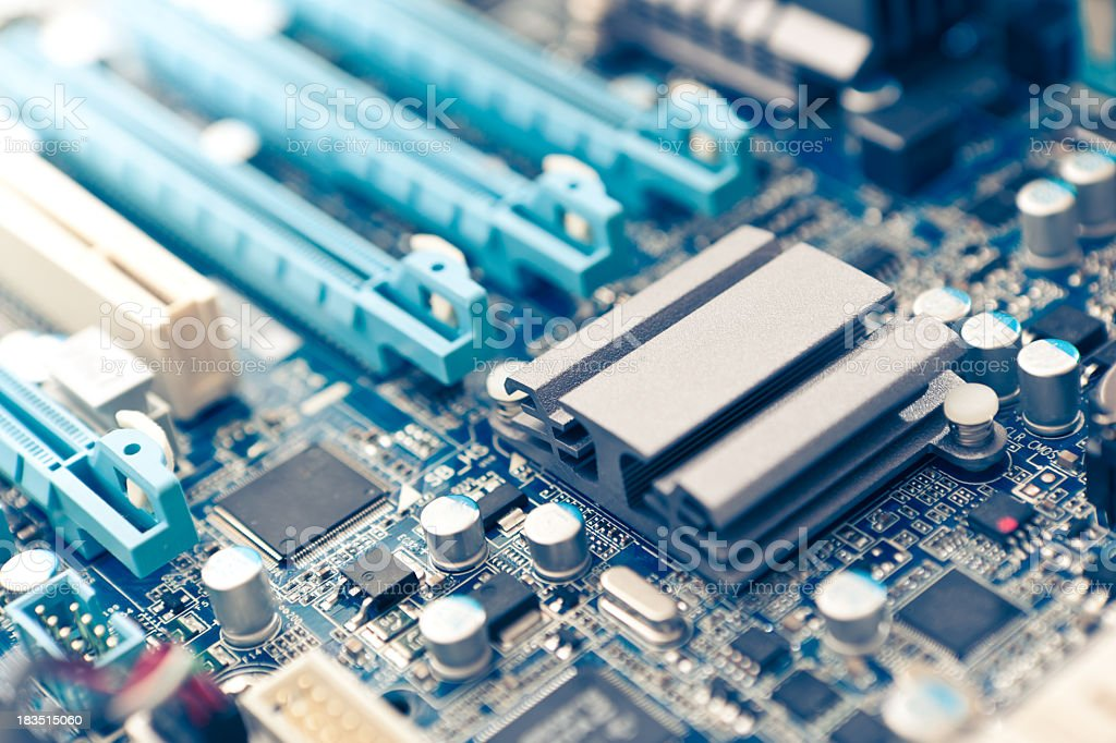 Close-up of an intricate circuit board stock photo