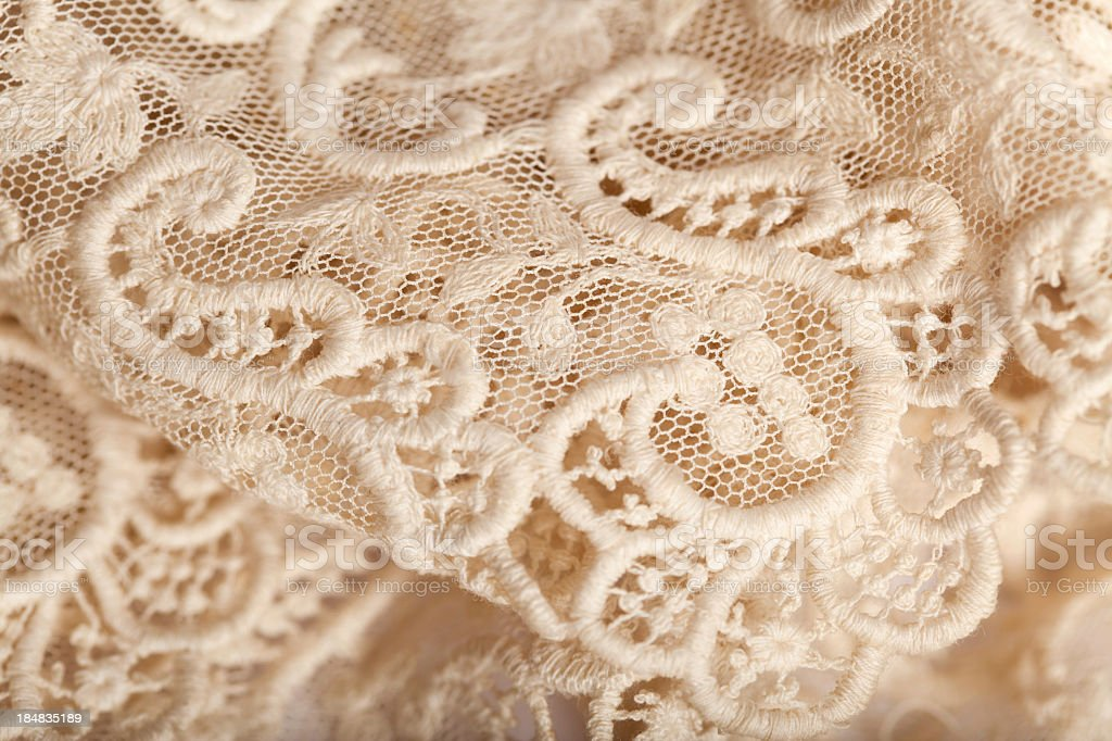 Close-up of an off white lace piece of material stock photo