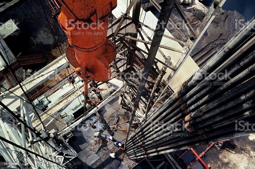 Close-up of an oil drill in the oil industry stock photo