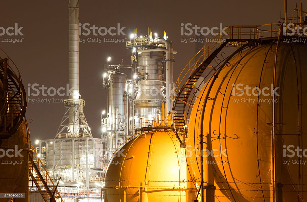 Close-up of an oil-refinery plant stock photo