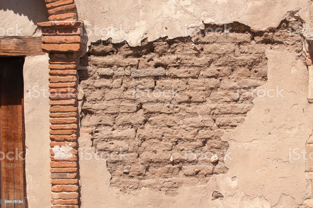 Close-up of an old adobe wall texture stock photo