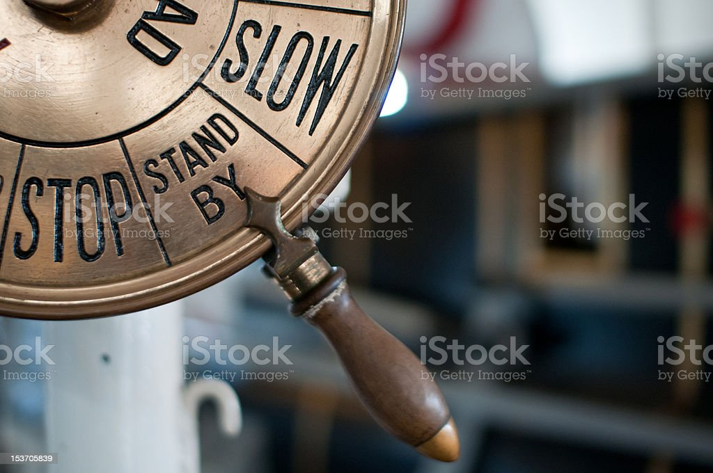 Closeup of an old engine order telegraph stock photo