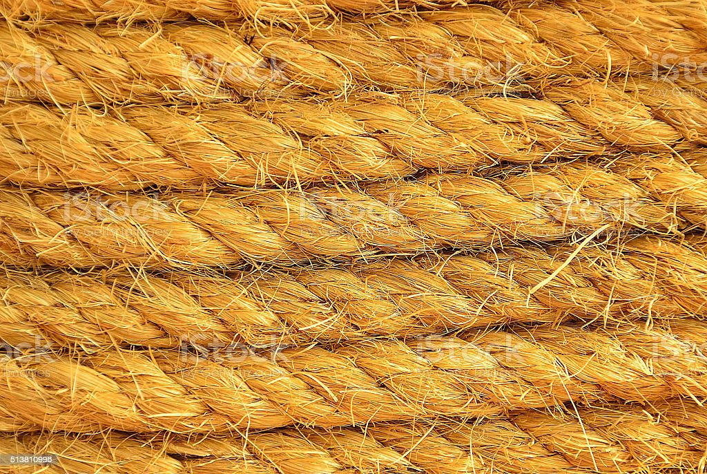 Close-up of an old frayed boat rope stock photo