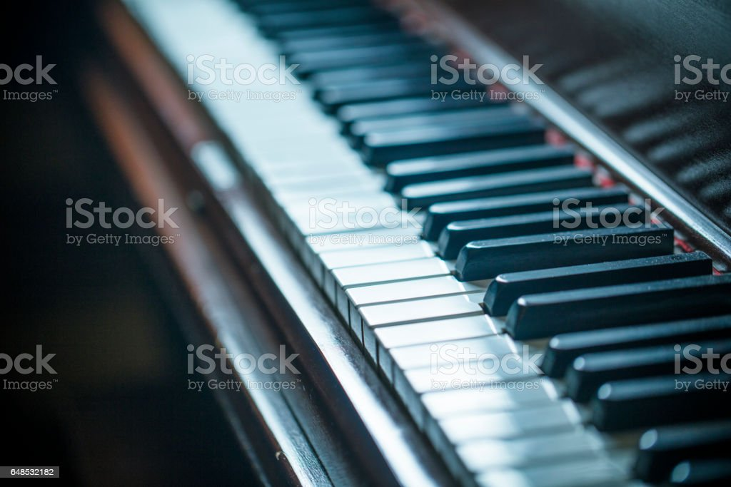 Close-up of an old piano keyboard stock photo