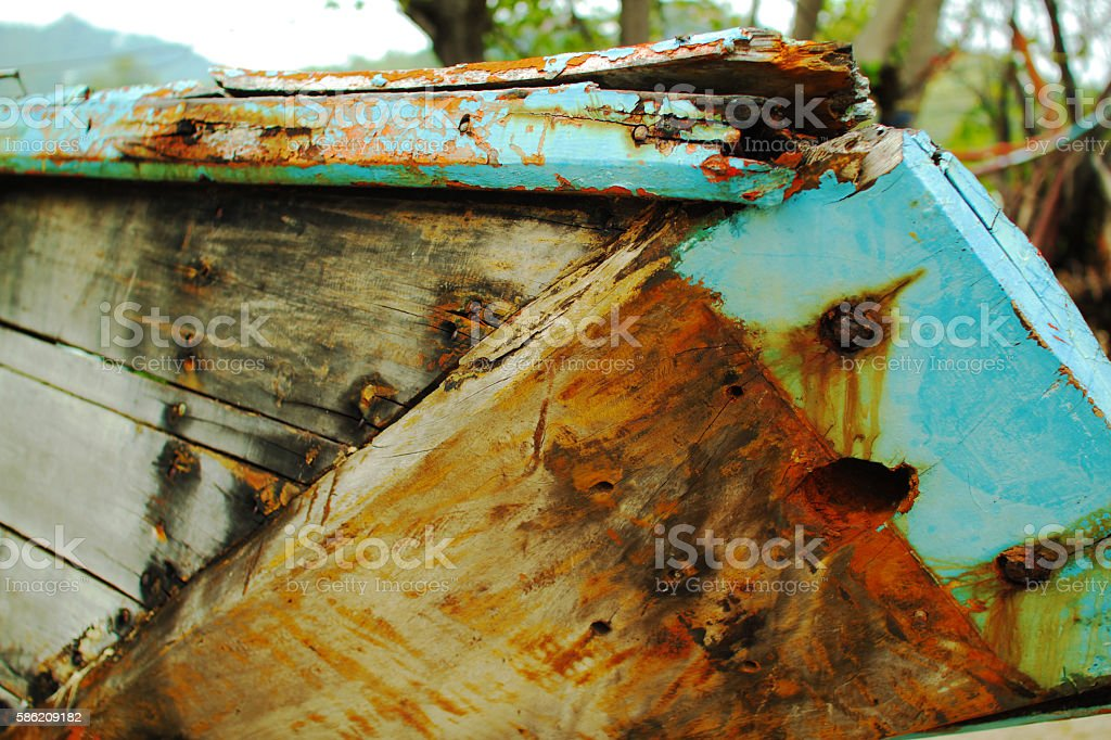 Close-up of an old, rusty boat stock photo