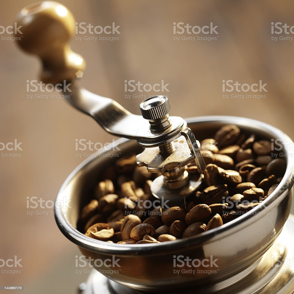Close-up of an old-fashioned coffee grinder stock photo