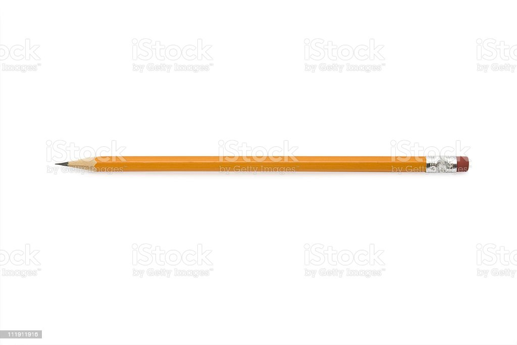 Close-up of an orange sharpened pencil with eraser stock photo