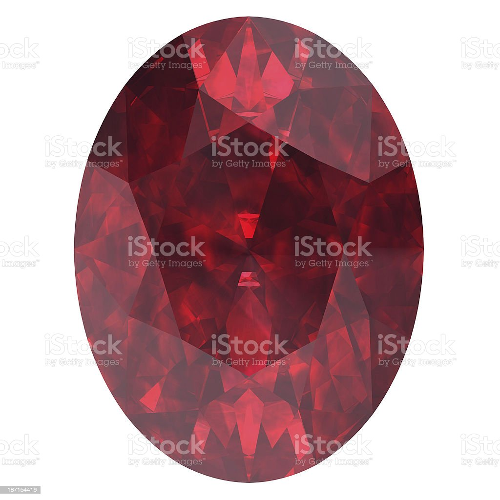 Close-up of an oval citrine ruby on a white background royalty-free stock photo